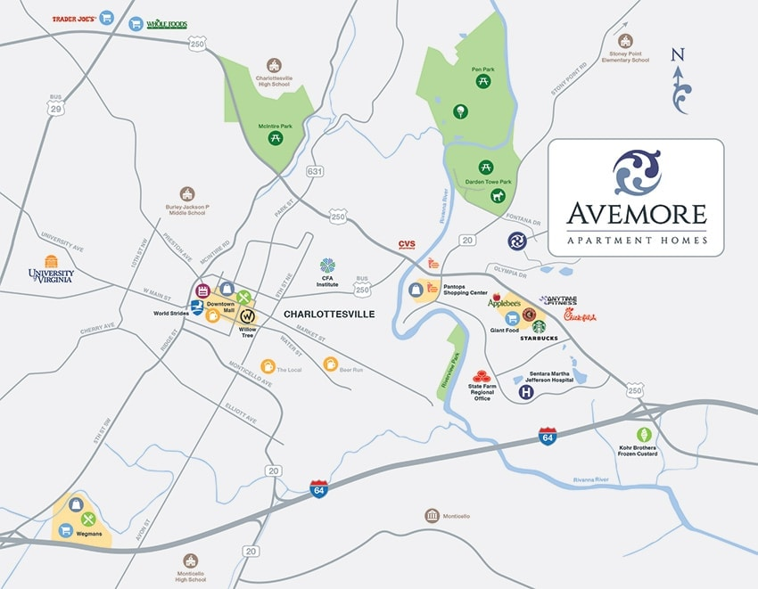 Directions, location, and address of Avemore Apartments on a Map of Charlottesville, VA.