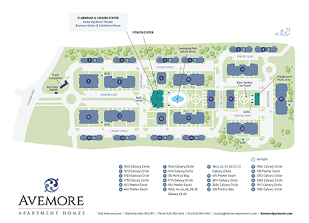 Avemore Apartments Map and Ground Layout in Charlottesville