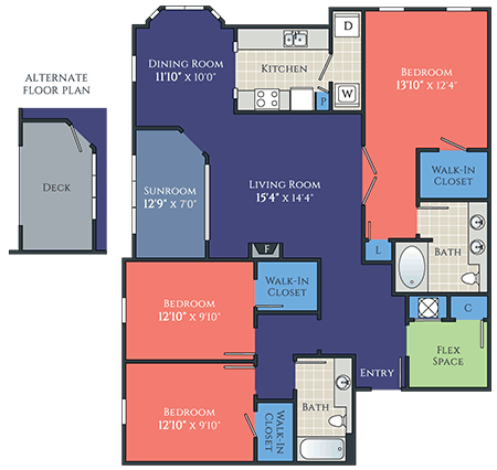 3 bedroom spiegel floorplan at avemore apartments in charlottesville va