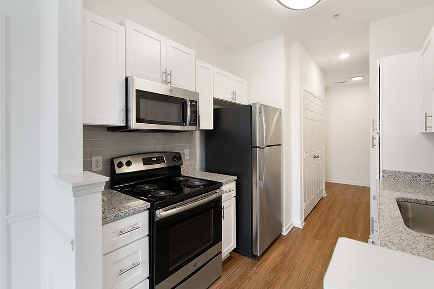 Renovated Apartment Kitchen with Stainless Steel Appliances at Avemore Apartments in Charlottesville, VA
